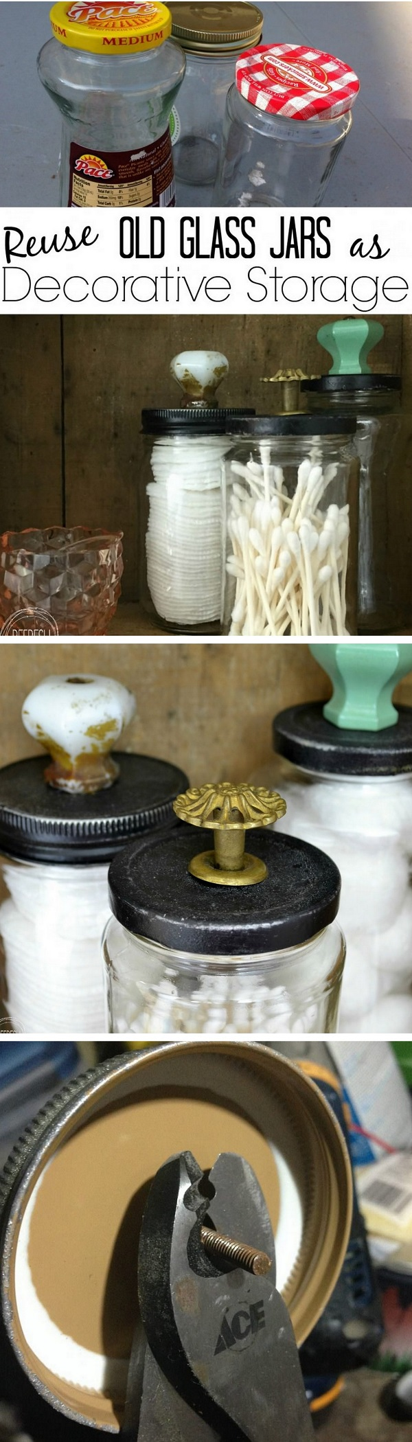 Check out how to reuse old jars for DIY bathroom organization