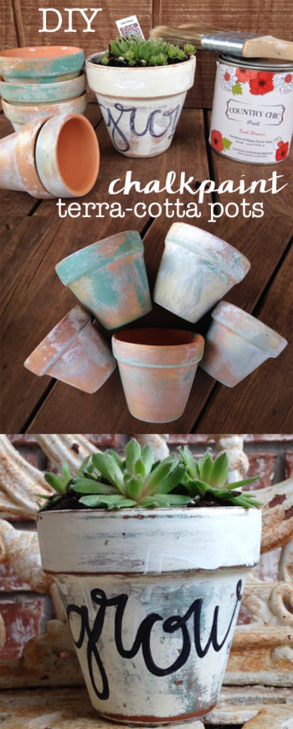 Check out how to make DIY chalkpaint terracotta pots