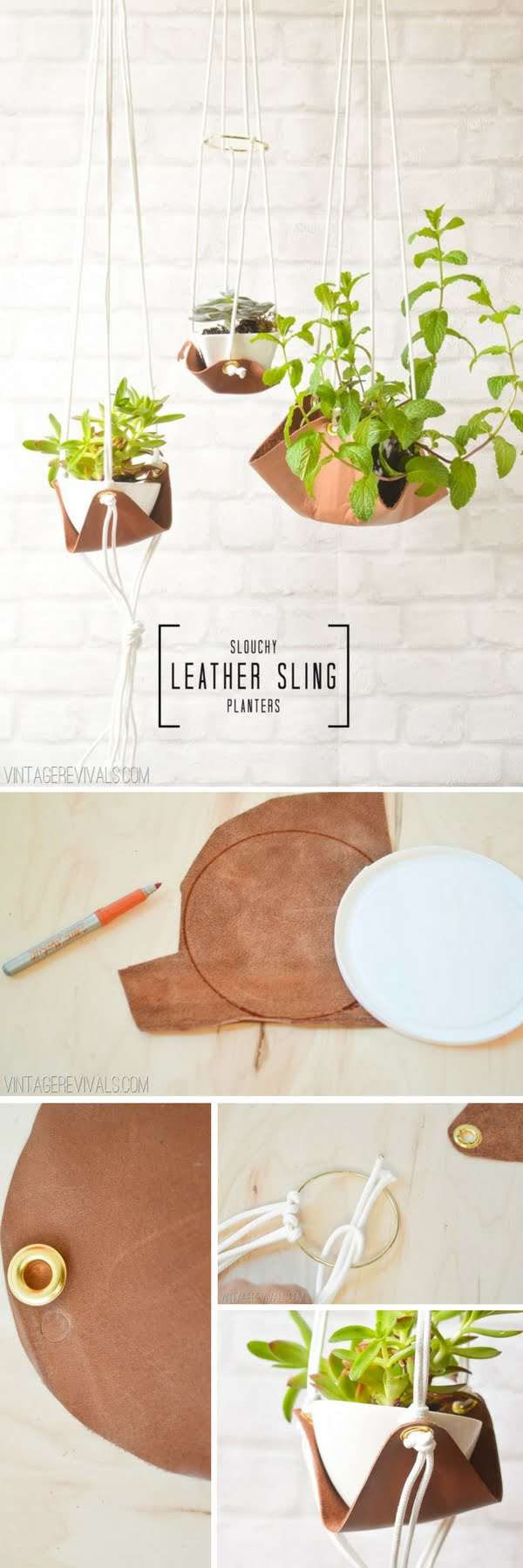 How to build DIY leather sling planters