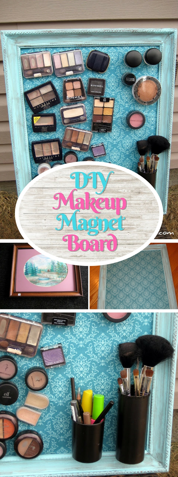 Check out how to make an easy DIY makeup magnet board for a small bathroom