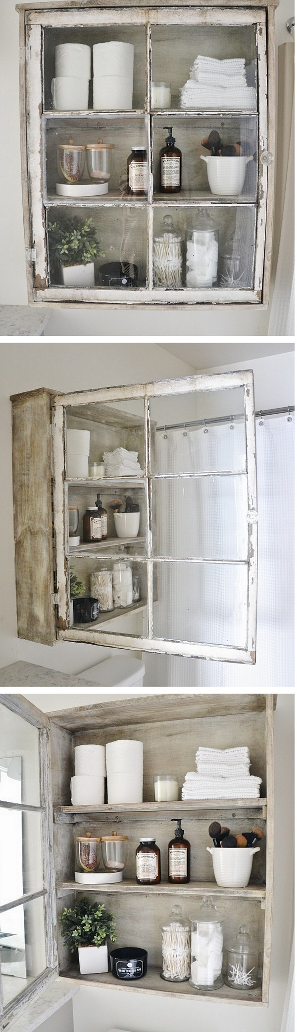 Check out how to build a DIY bathroom cabinet from an old window