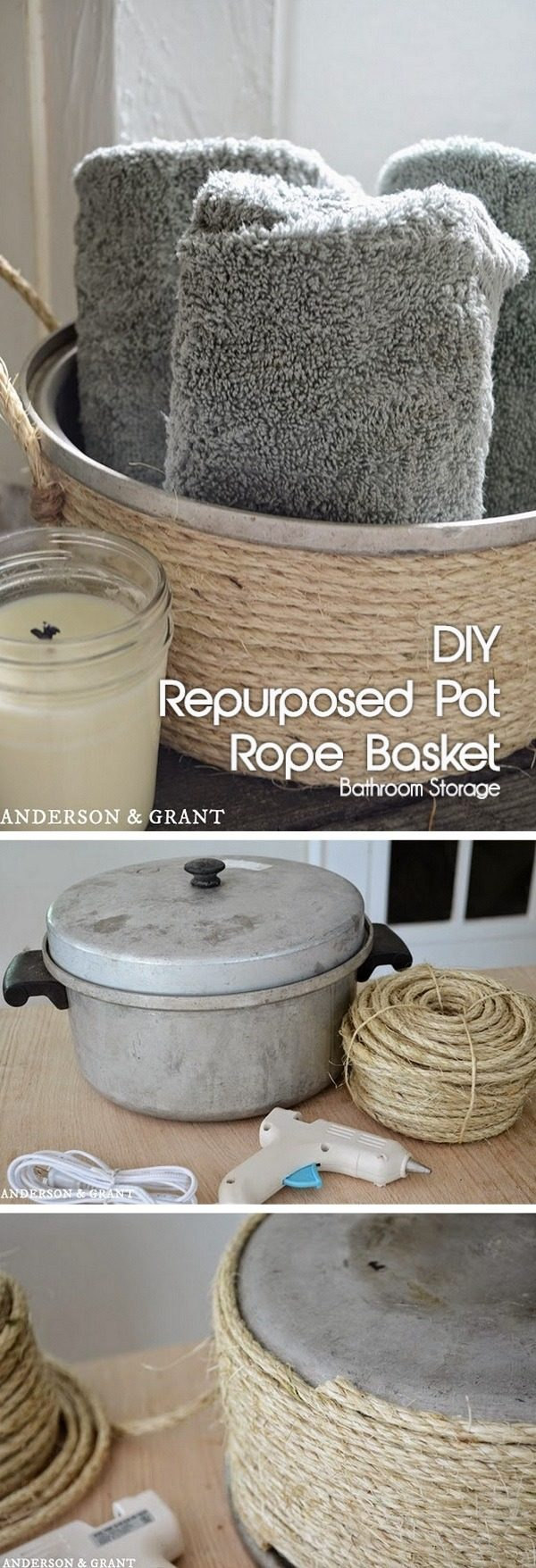 Check out how to turn an old pot into a #DIY bathroom storage rope basket #RusticDecor #BathroomDecor #HomeDecorIdeas