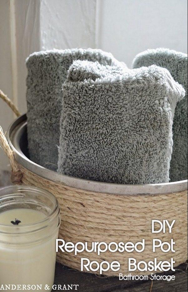 How to turn an old pot into a #DIY bathroom storage rope basket #RusticDecor #BathroomDecor #HomeDecorIdeas