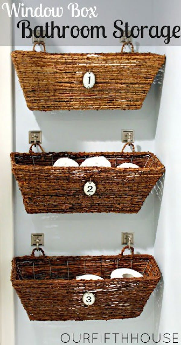 Check out how to make DIY bathroom storage form window baskets