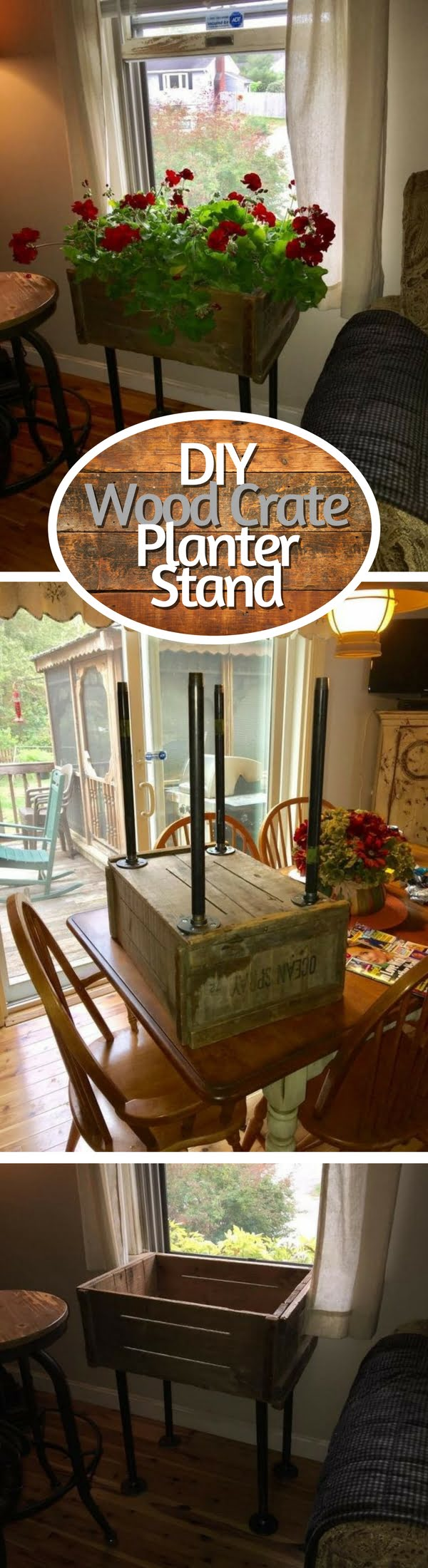 15 Brilliant DIY Crafts You Can Make with Wood Crates - Check out how to make a DIY planter stand from wood crate
