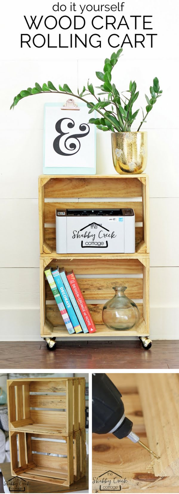 15 Brilliant DIY Crafts You Can Make with Wood Crates - Check out how to build an easy DIY rolling cart from wood crates