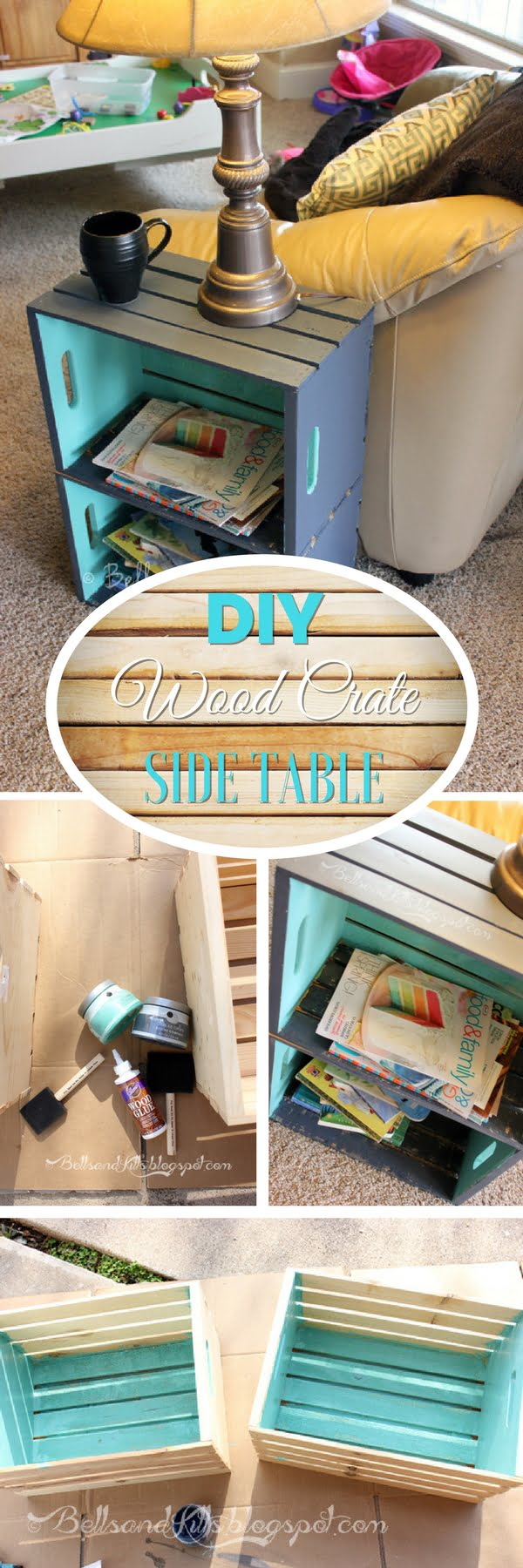15 Brilliant DIY Crafts You Can Make with Wood Crates - Check out how to build a simple DIY side table form wood crates