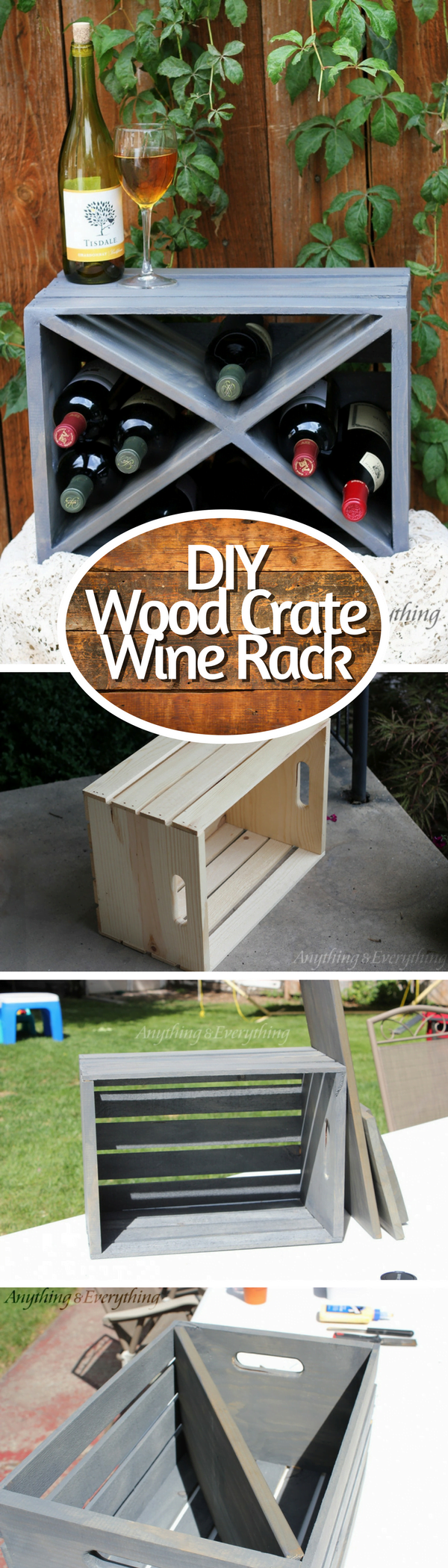 15 Brilliant DIY Crafts You Can Make with Wood Crates - Check out how to make an easy DIY wine rack from a wood crate