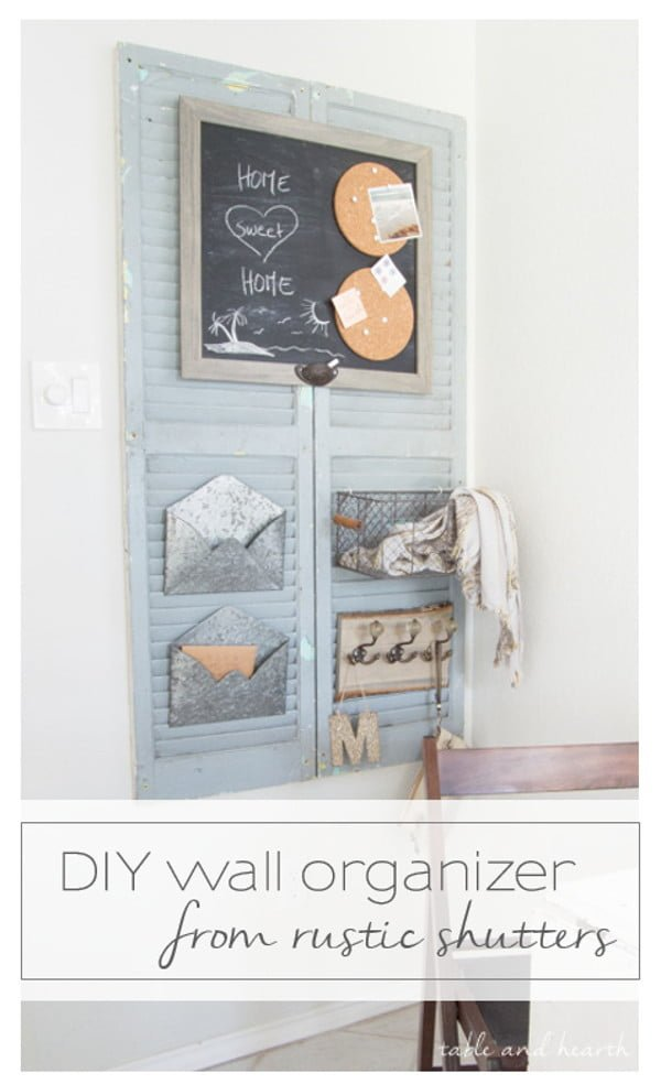 Check out how to build a DIY wall organizer from old shutters