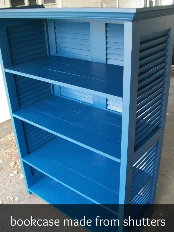 Check out how to build a DIY bookcase form shutters