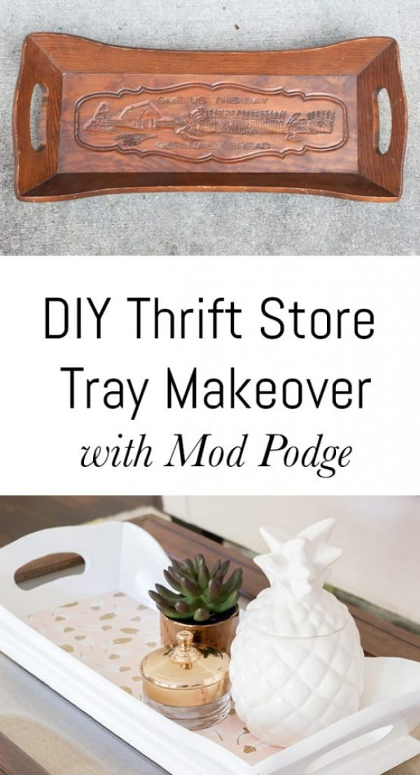 How to makeover a DIY tray from a thrift store