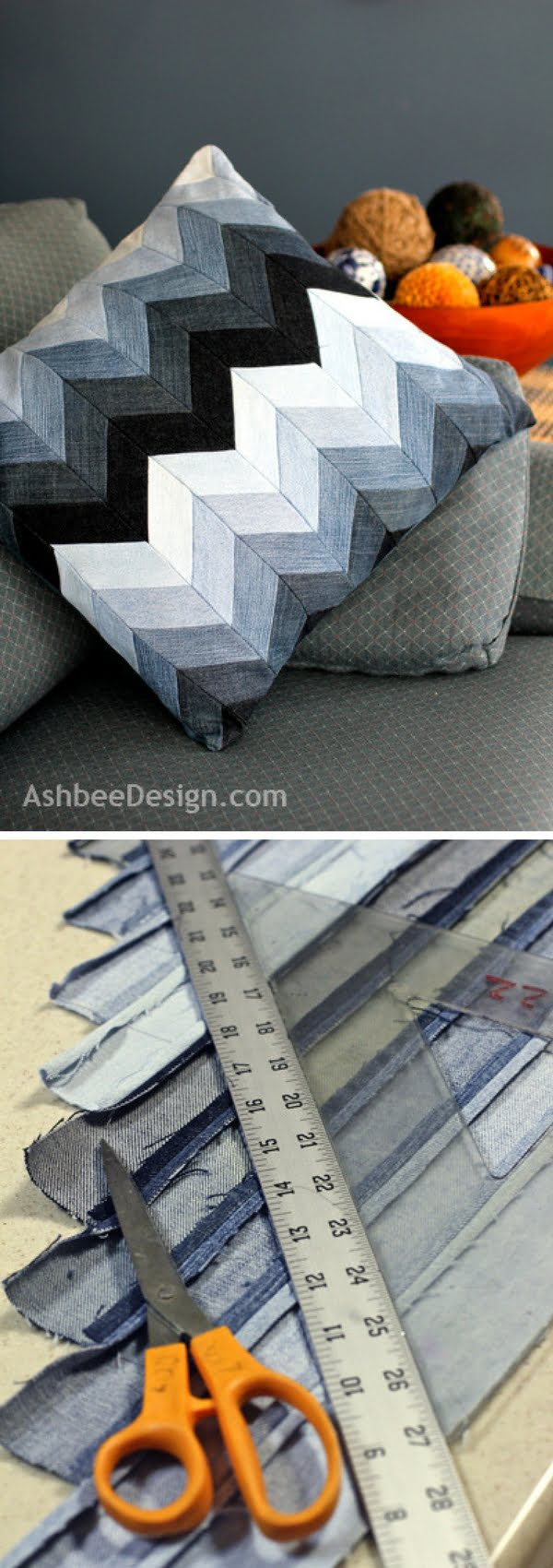 Check out how to make a decorative DIY chevron pillow from old jeans