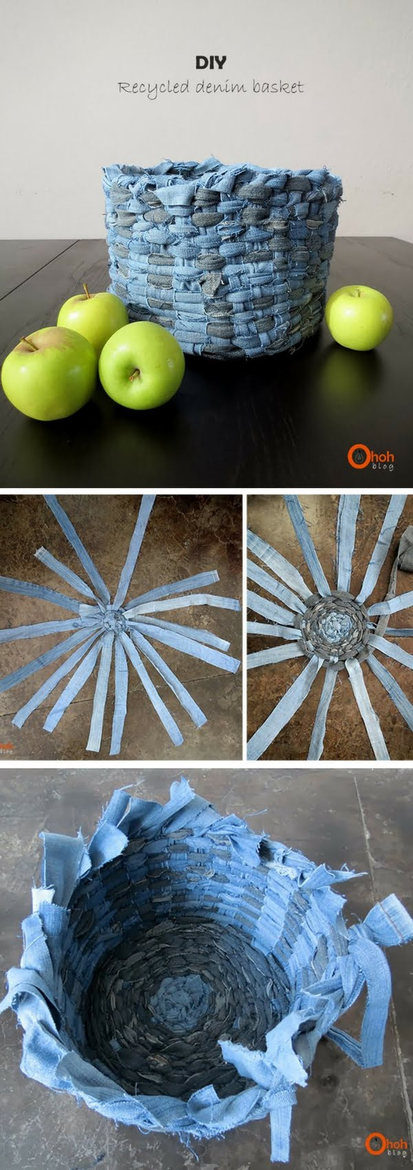 Check out how to make a DIY decorative basket from old jeans