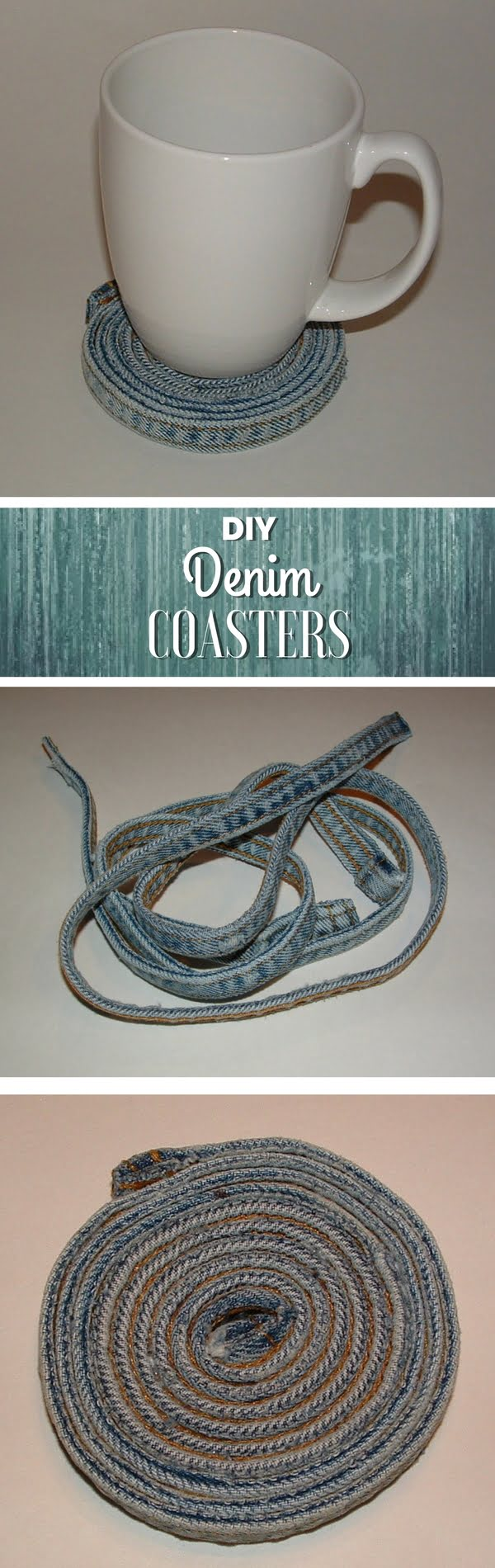 Check out how to make a decorative DIY coaster from reclaimed jeans