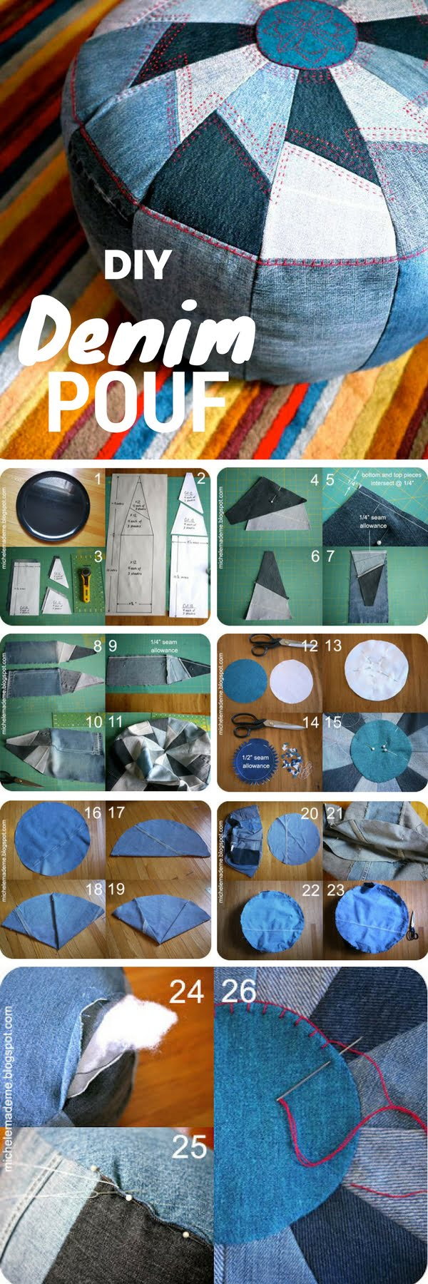 Check out the tutorial on how to make a DIY pouf from old jeans for home decor