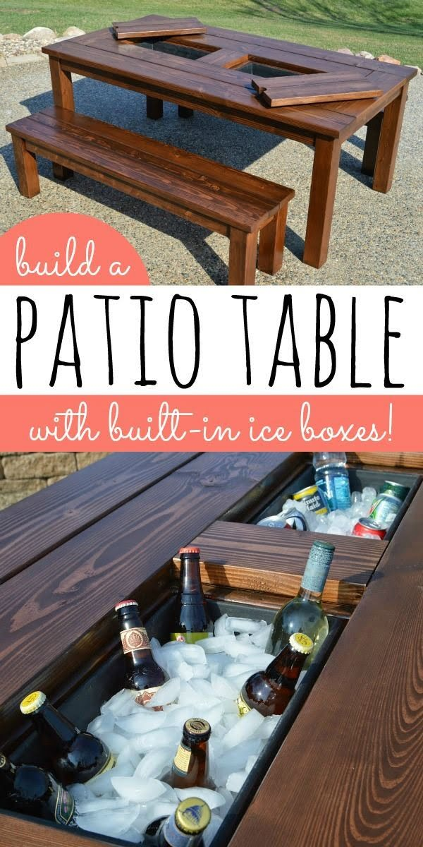 Check out how to build a DIY outdoor patio table with built-in ice boxes
