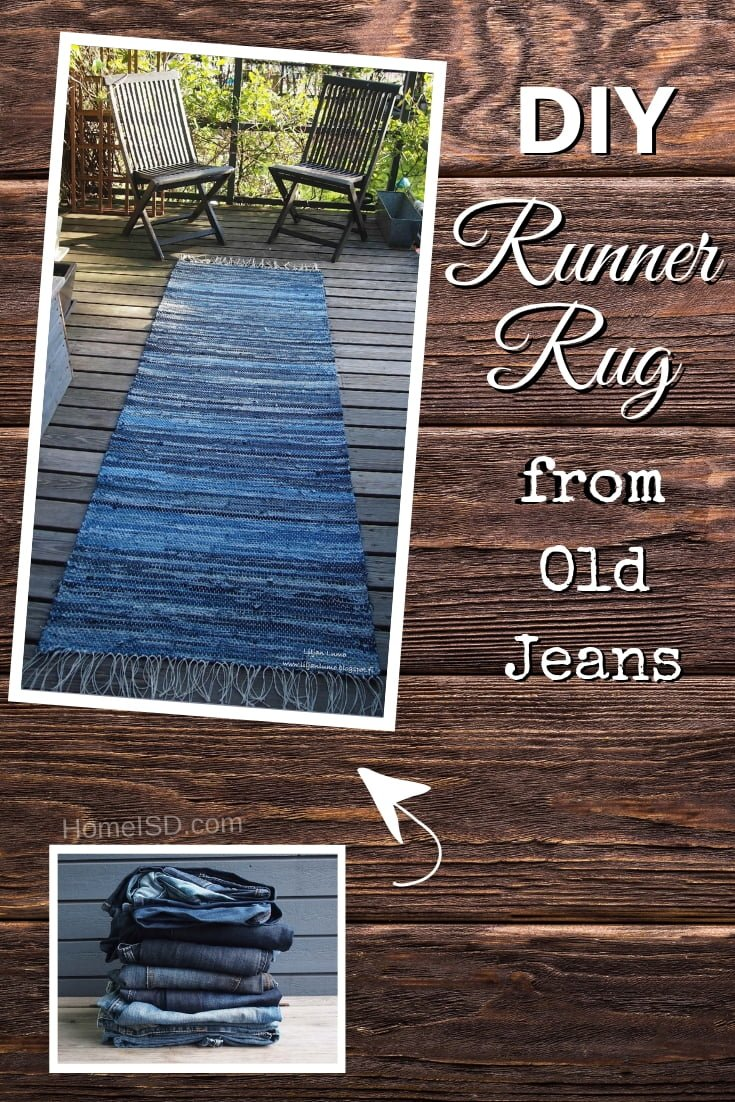 DIY Denim Runner Rug from old jeans - what a great idea! Check out other DIY crafts with old jeans on this list too!