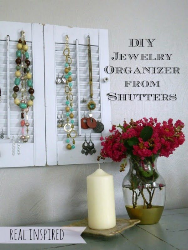 Check out how to make a DIY jewelry organizer from old shutters