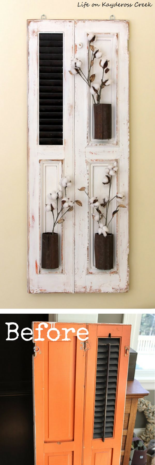 Check out how to make DIY farmhouse wall decor with old shutters