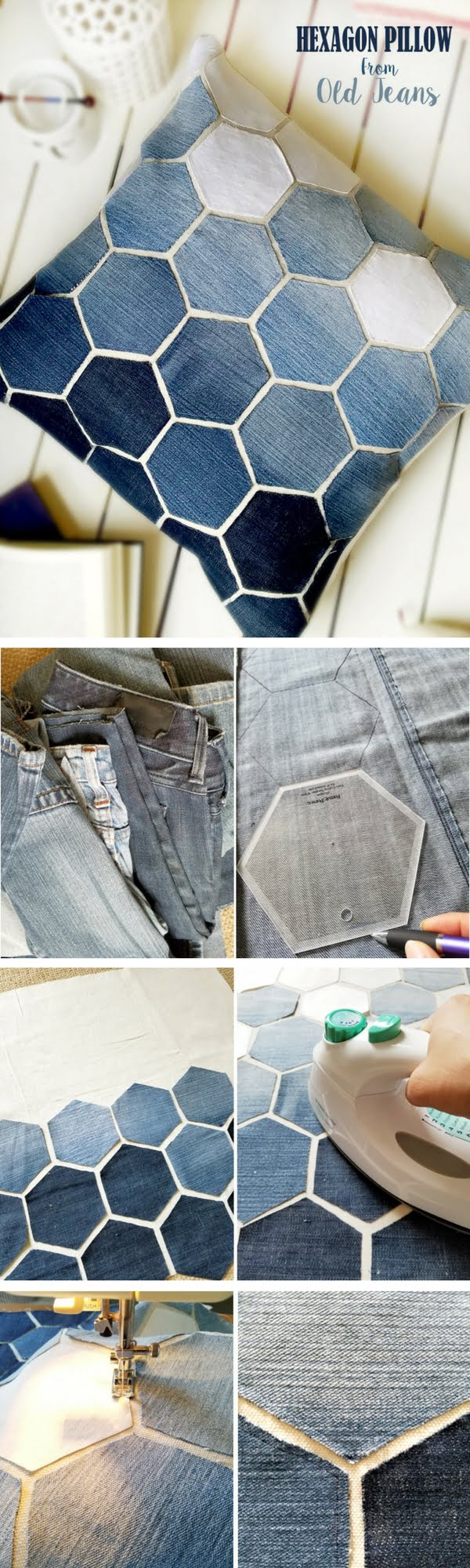 Check out how to make a DIY decorative hexagon pillow form old jeans