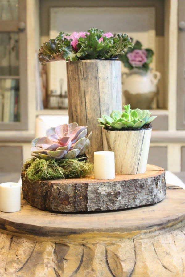 How to make a DIY rustic tree stump centerpiece