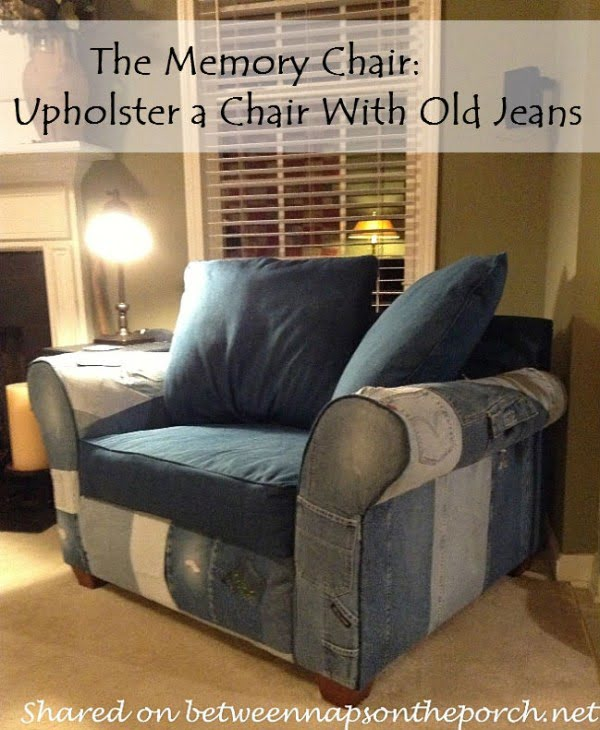 Check out the tutorial on how to upholster a chair in old jeans DIY