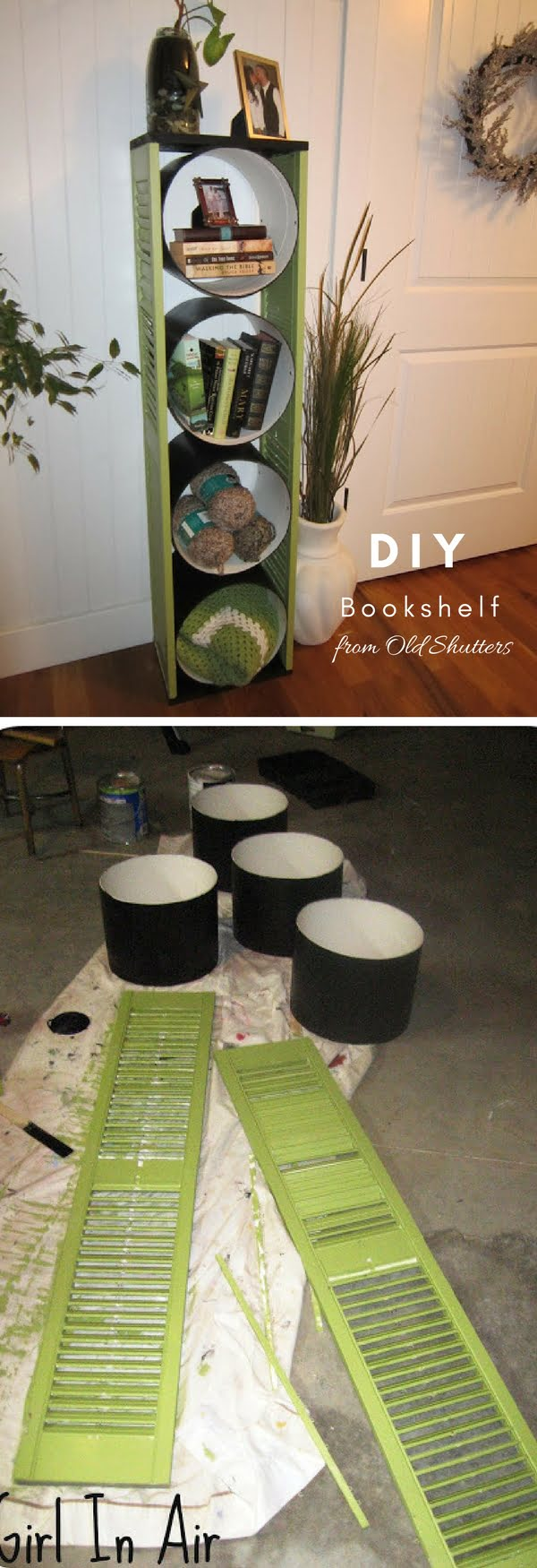 Check out how to build a DIY bookshelf from old shutters