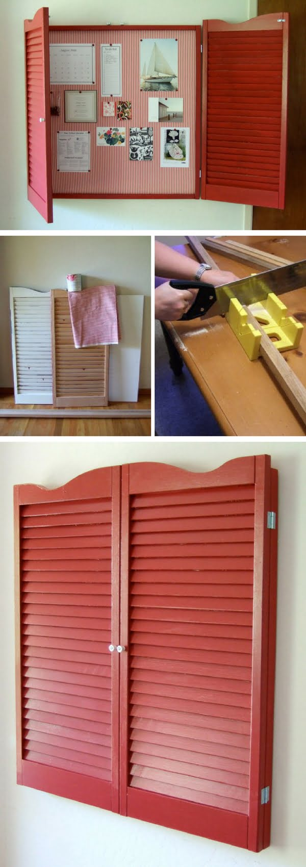How to build this DIY bulletin board from old shutters