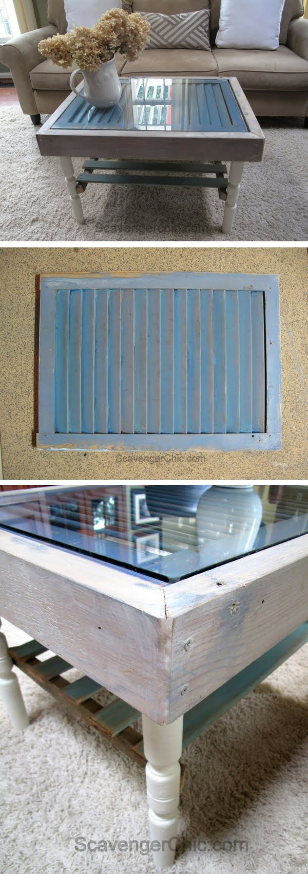Check out how to build a DIY coffee table from old shutters
