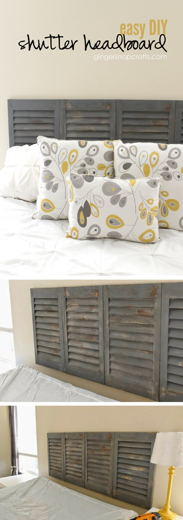 Check out how to make an easy DIY headboard from old shutters