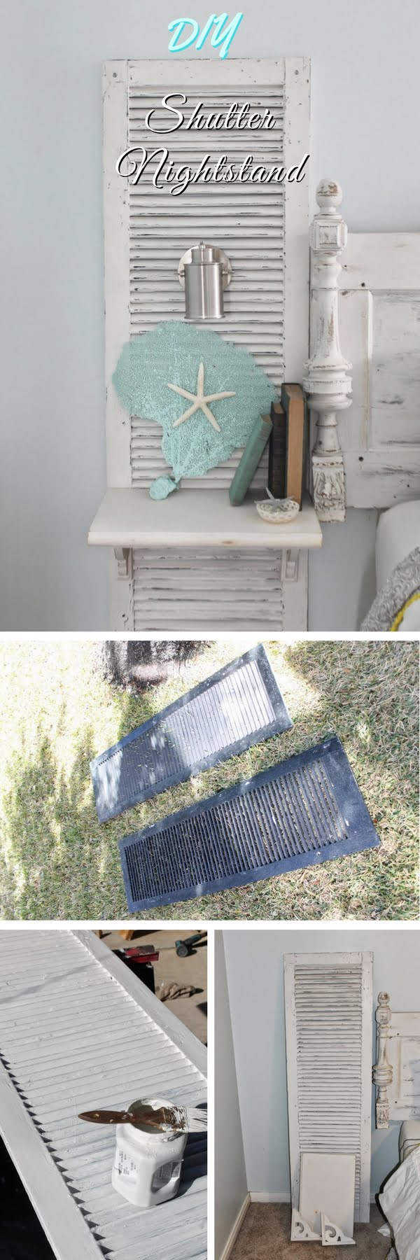 Check out how to make a DIY nightstand from an old shutter