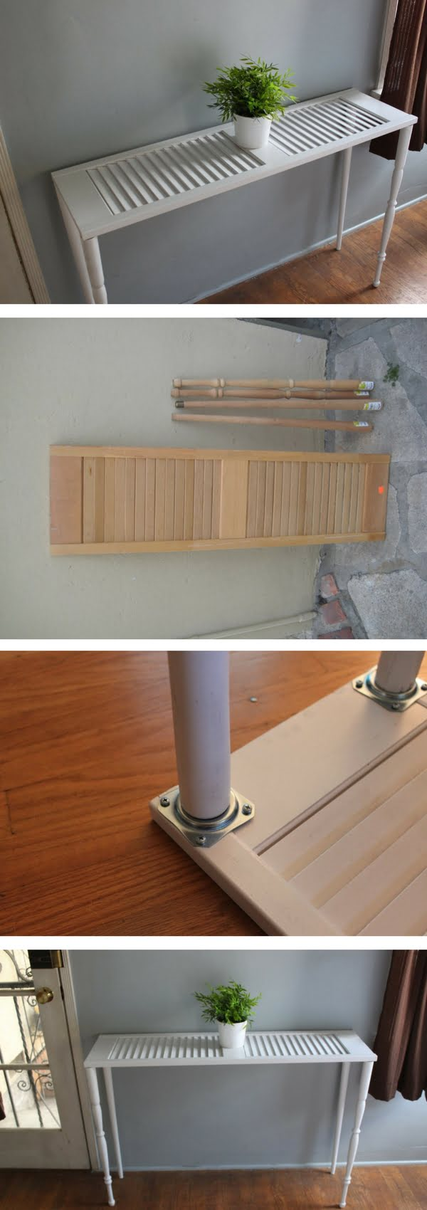 Check out how to build a DIY side table from an old shutter