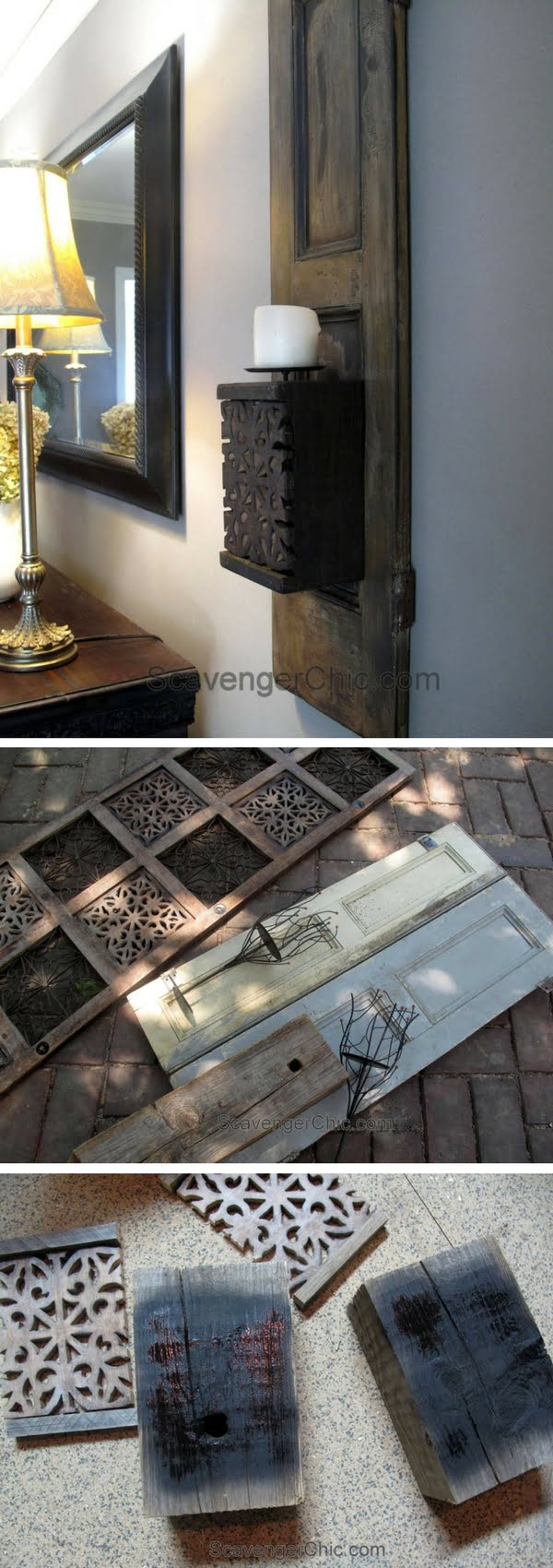 Check out how to make a DIY wall candle sconce from an old shutter