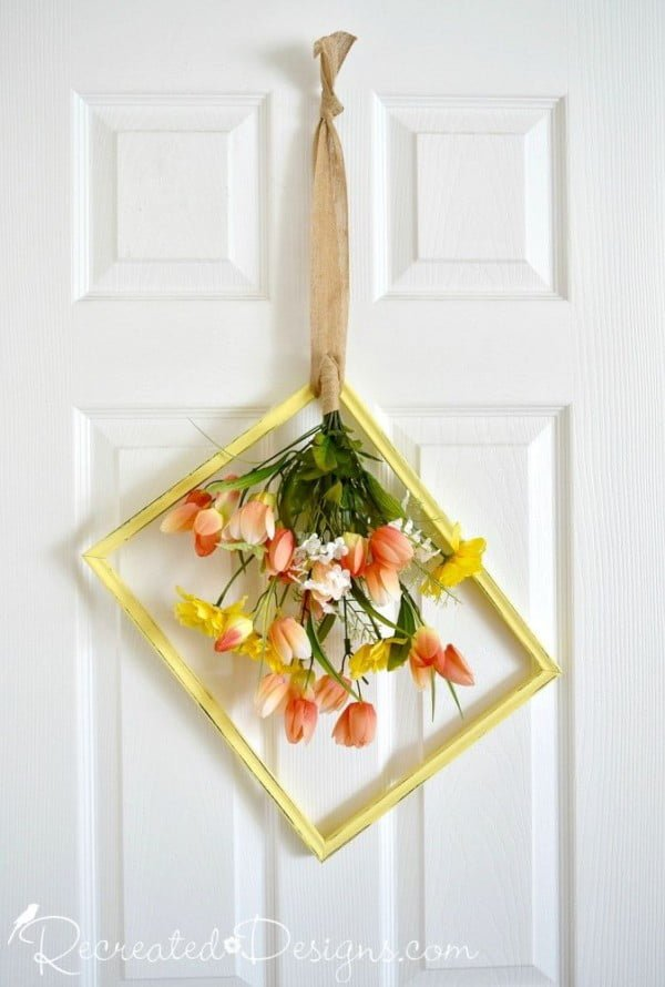 Check out how to make a DIY wreath from a thrift store picture frame