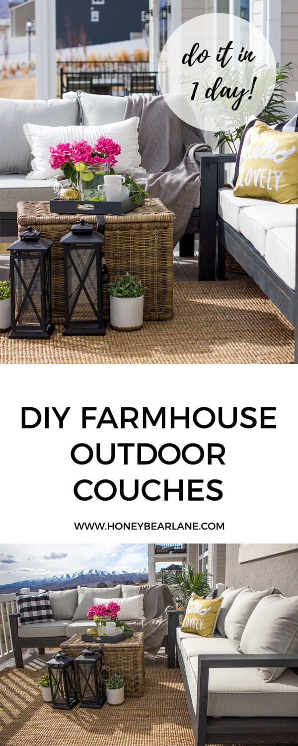 Check out the tutorial for #DIY #farmhouse outdoor couches. Looks easy enough! #HomeDecorIdeas