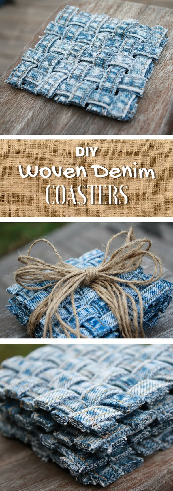 Check out the tutorial on how to make a decorative DIY coaster from old jeans