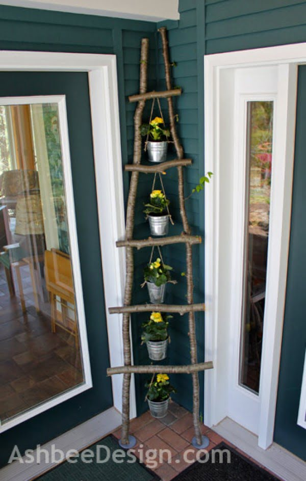 Check out how to build an easy DIY trellis from branch ladder