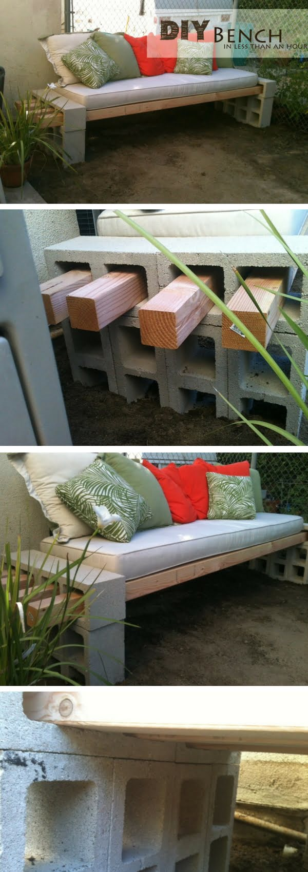 Check out how to build a quick and easy DIY bench for the outdoors