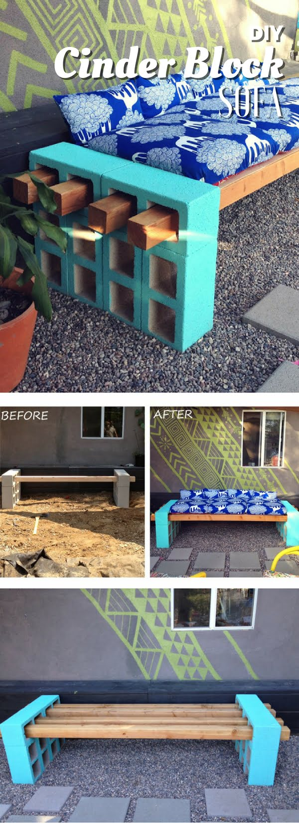 Check out how to build an easy DIY outdoor bench or sofa