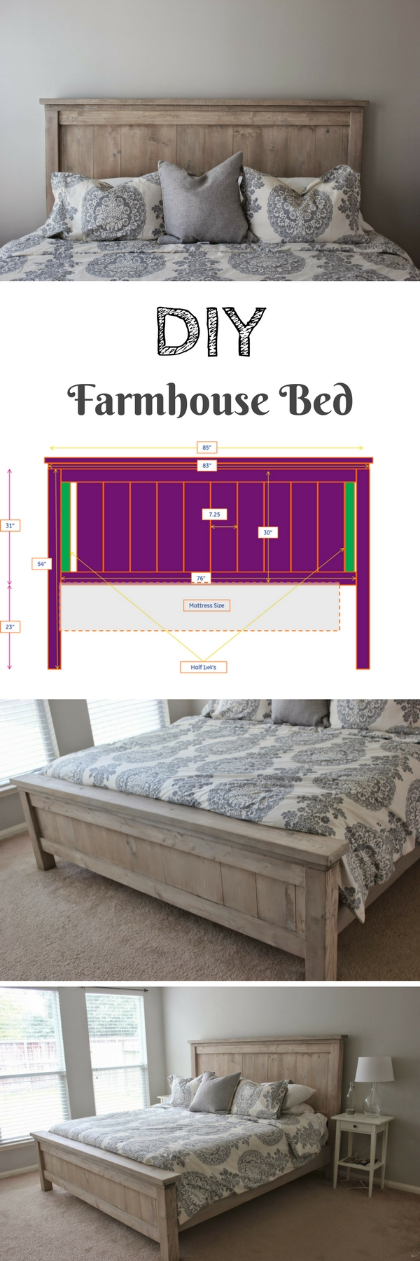 45 Easy DIY Bed Frame Projects You Can Build on a Budget - Check out how to build a DIY farmhouse bed