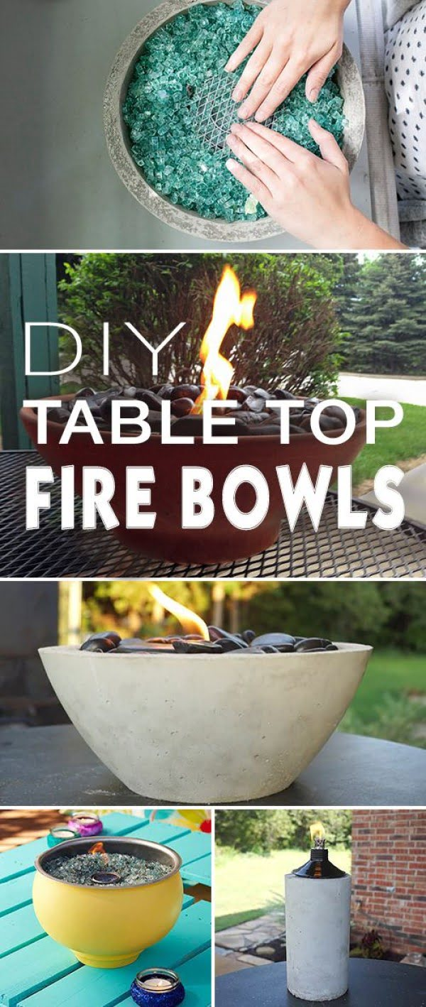 Check out how to make DIY table top fire bowls for backyard lighting and decoration