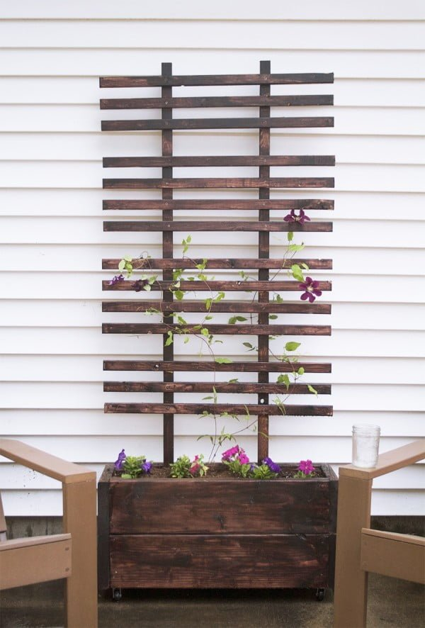 Check out the tutorial on how to build a DIY trellis and planter box for your garden