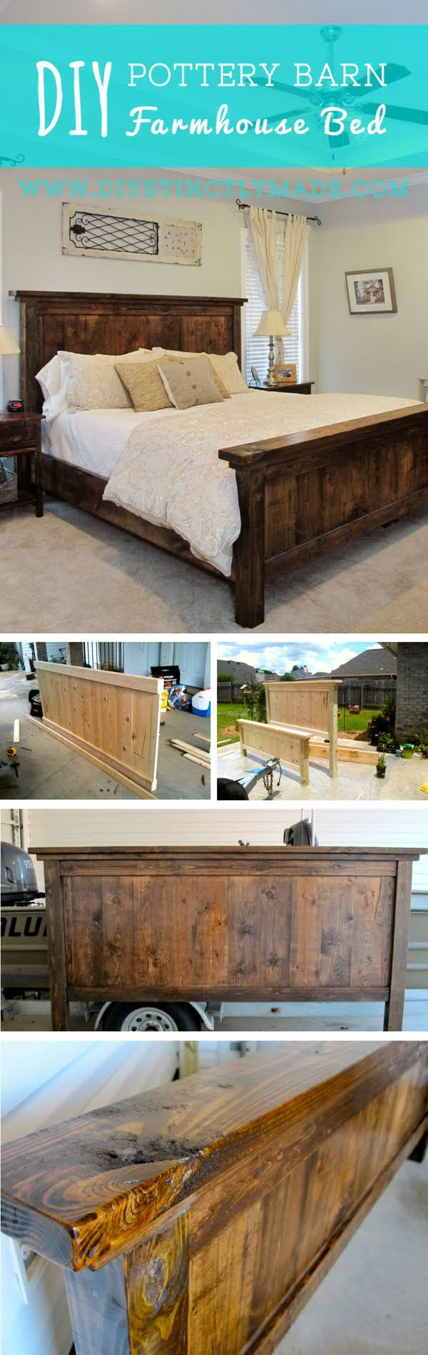 45 Easy DIY Bed Frame Projects You Can Build on a Budget - Check out how to build a DIY Pottery Barn inspired farmhouse bed