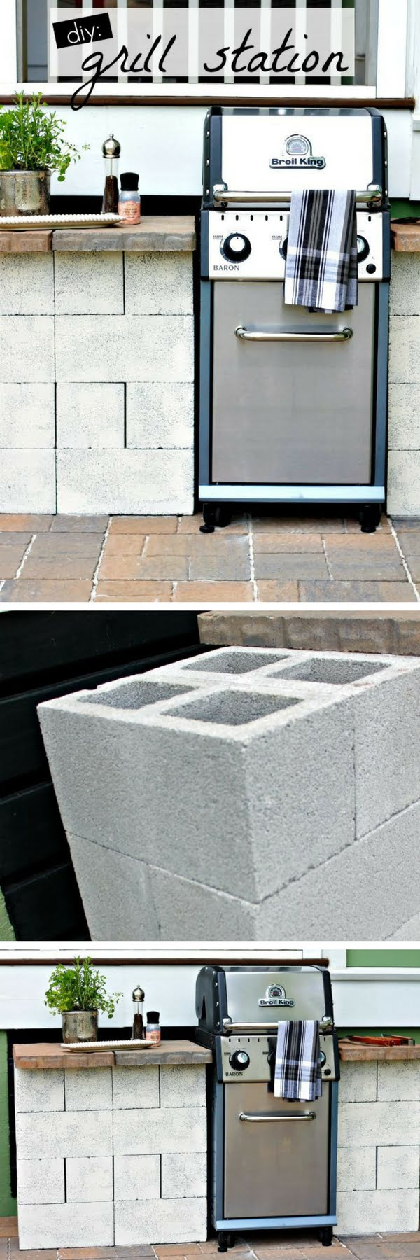 Check out how to build a DIY grill station from cinder blocks in your backyard