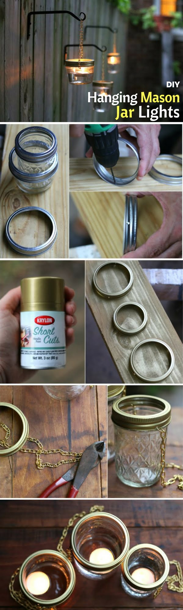 Check out how to make DIY outdoor lighting from mason jars