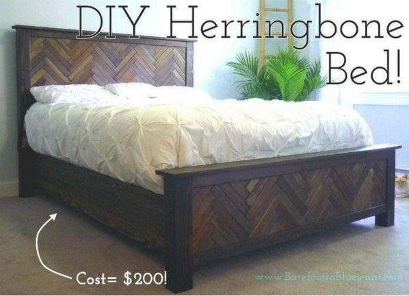 45 Easy DIY Bed Frame Projects You Can Build on a Budget - Check out the tutorial on how to build a DIY herringbone bed