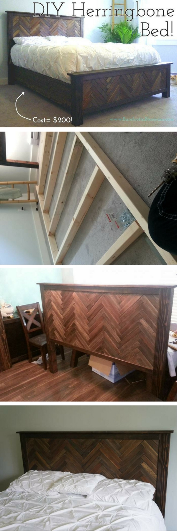 Check out the tutorial on how to build a DIY herringbone bed @istandarddesign