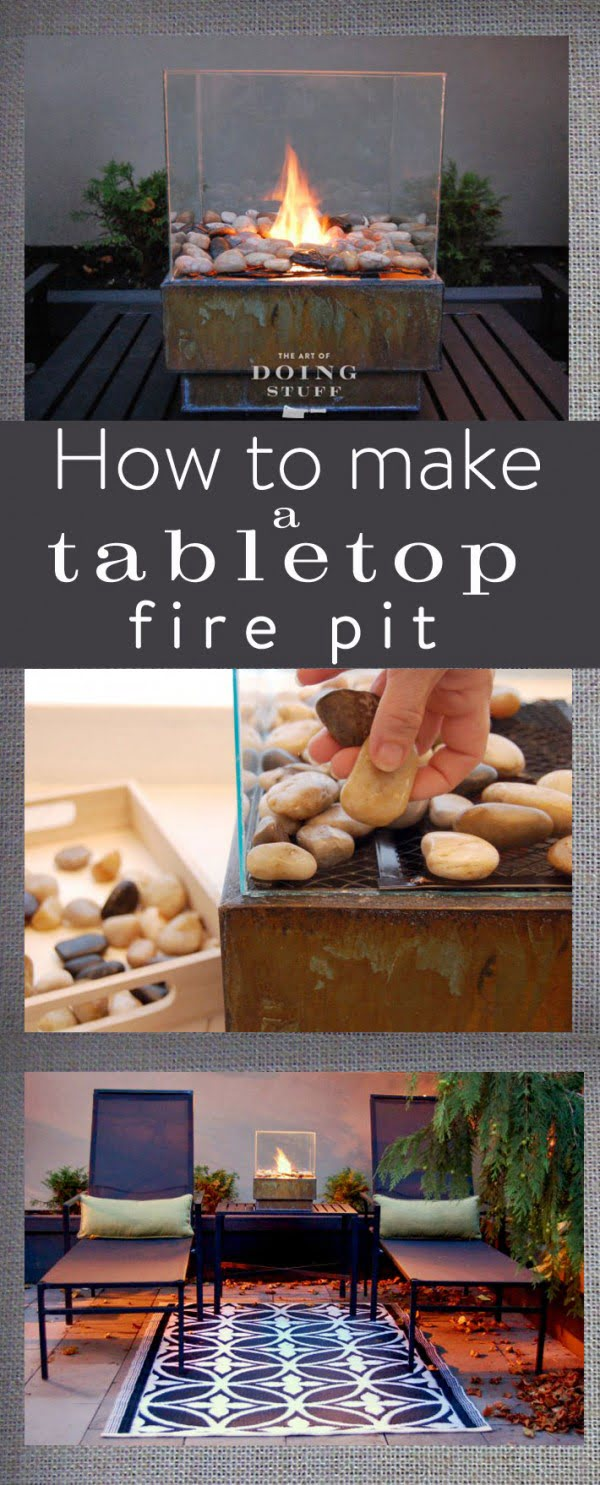 Check out the tutorial on how to make a DIY glass tabletop fire pit