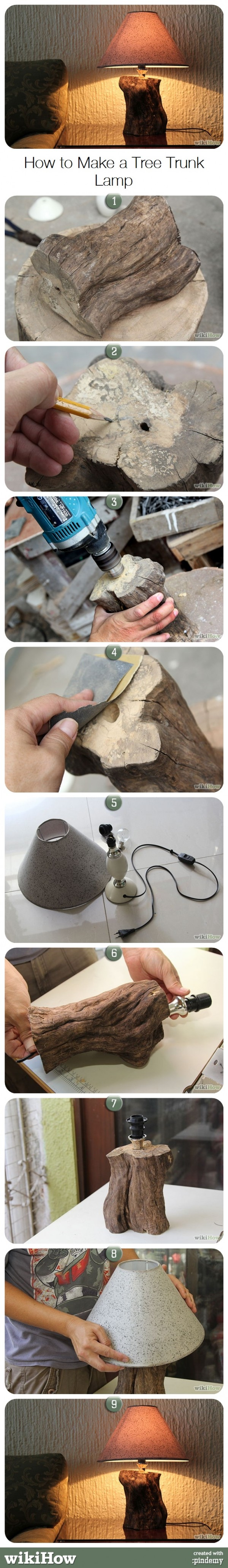 How to make a DIY tree trunk lamp