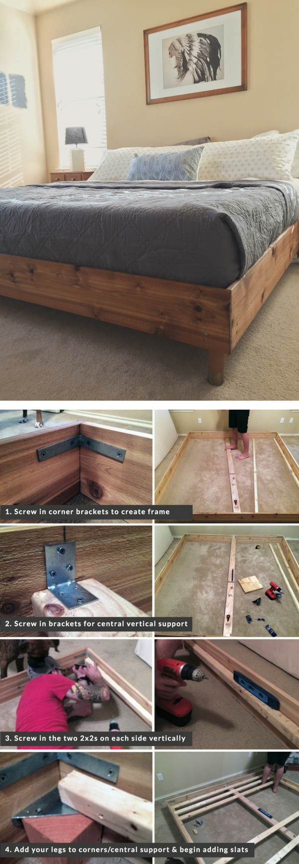 45 Easy DIY Bed Frame Projects You Can Build on a Budget - Check out the tutorial on how to build a DIY king size bed
